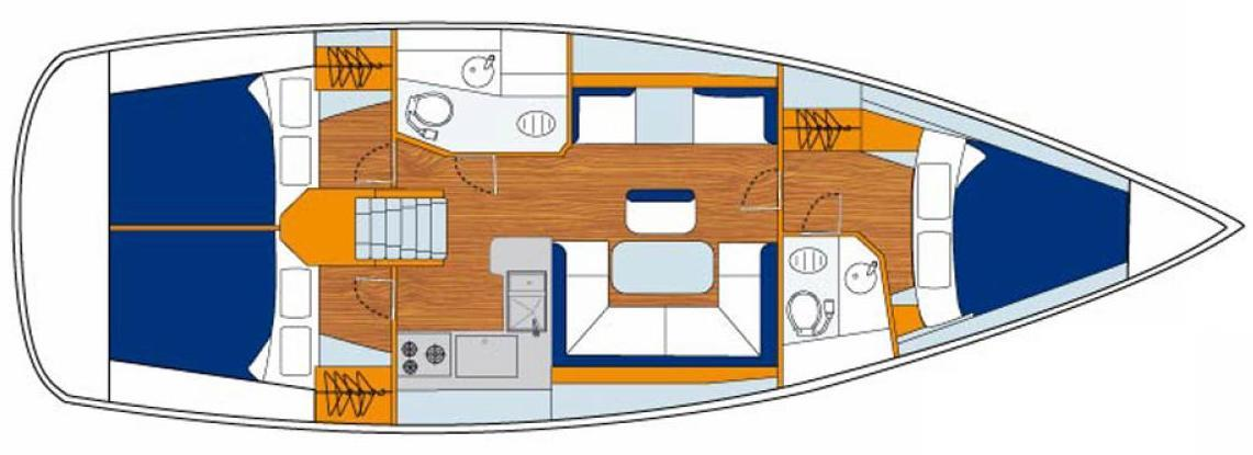 Sunsail 41-foot Monohull Interior