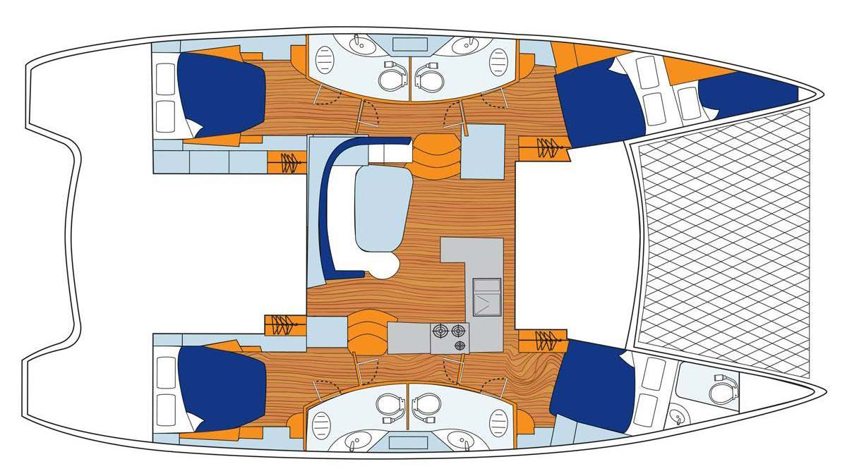Sunsail 454 Catamaran Interior