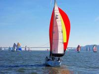 Sailboat racing on San Francisco Bay