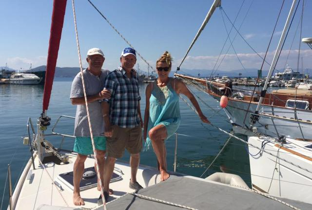 Three happy Crew Members on leg one of our Greece Sailing Adventure