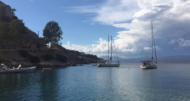 The anchorage at Hydra on the first leg of our Greece Sailing Adventure with Modern Sailing School and Club