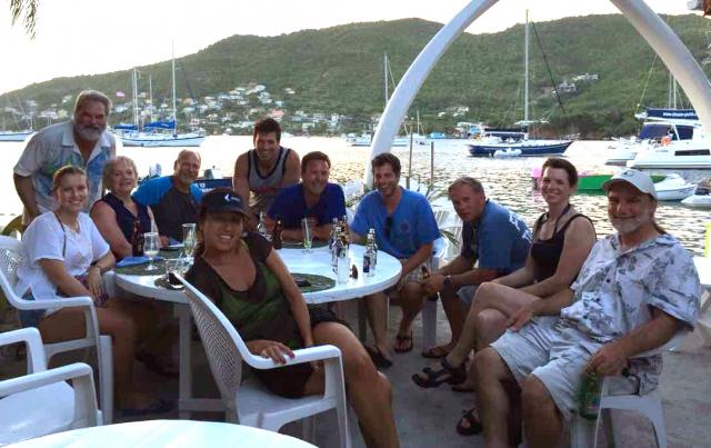 Sailing in the Grenadines and enjoying a group dinner