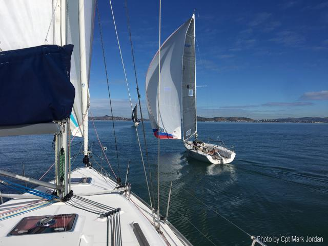 Heading towards Red Rock with a spinnaker up on a zephyr breeze. Photo by Cpt Mark Jordan