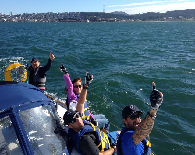 Corporate Team Building on San Francisco Bay - participants are winning!