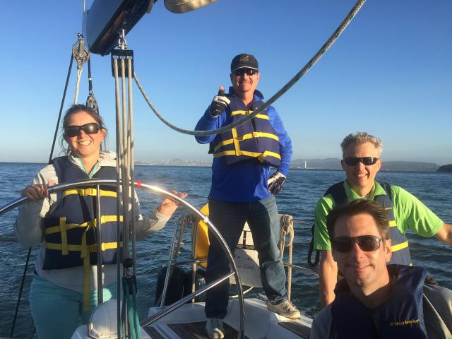 Students enjoying the Basic Keelboat Course (ASA 101) on San Francisco Bay