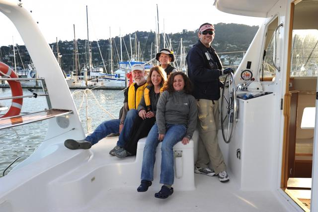 Modern Sailing School and Club Members getting ready for their Cruising Catamaran Course (ASA 114) in Sausalito.