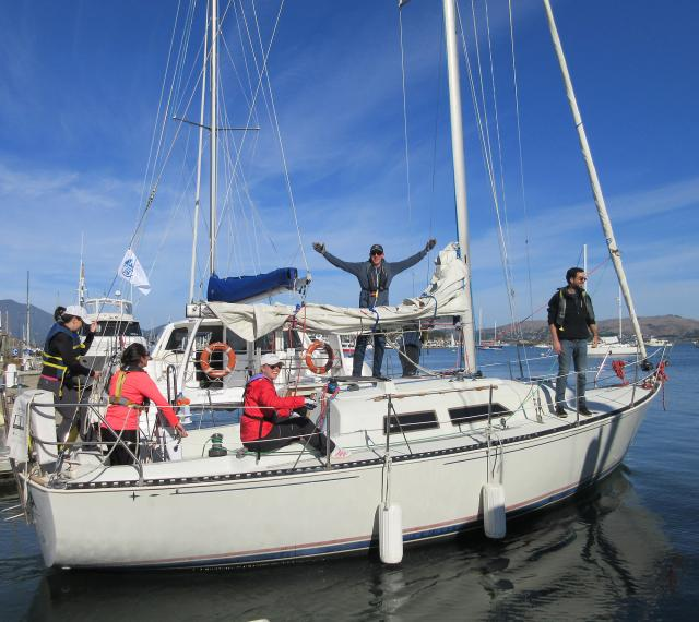 Student and Instructor Refresh skills on one of the on-the-water Refresher Courses that Modern Sailing School and Club offers on San Francisco Bay.