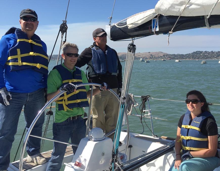 Members of Modern Sailing School and Club set sail on a group sailing trip on San Francisco Bay.
