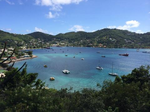 Modern Sailing is on an Adventure to the Grenadines.  This is the harbor and lagoon from on top a mountain.